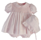 Newborn Girls Pink Smocked Dress Bonnet Set