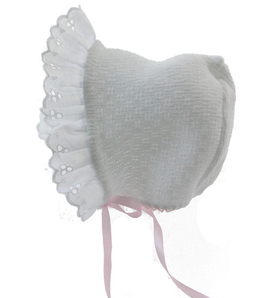 White Baby Bonnet with Eyelet Trim