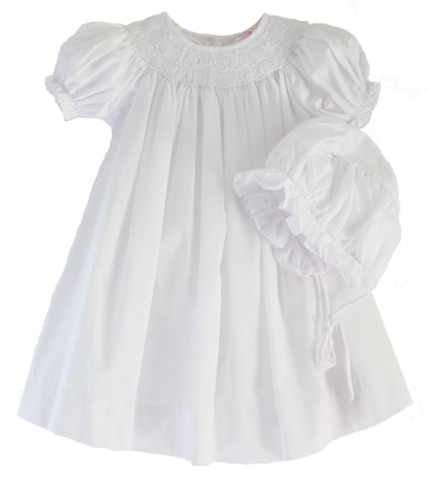 Infant Girls White Smocked Dress Bonnet Set Petit Ami