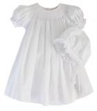 Infant Girls White Smocked Dress Bonnet Set Petit Ami