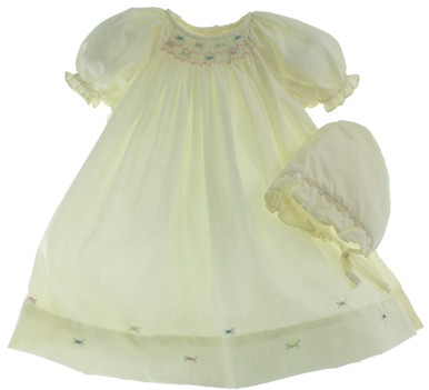 Newborn Girls Yellow Smocked Daygown and Bonnet Set Petit Ami