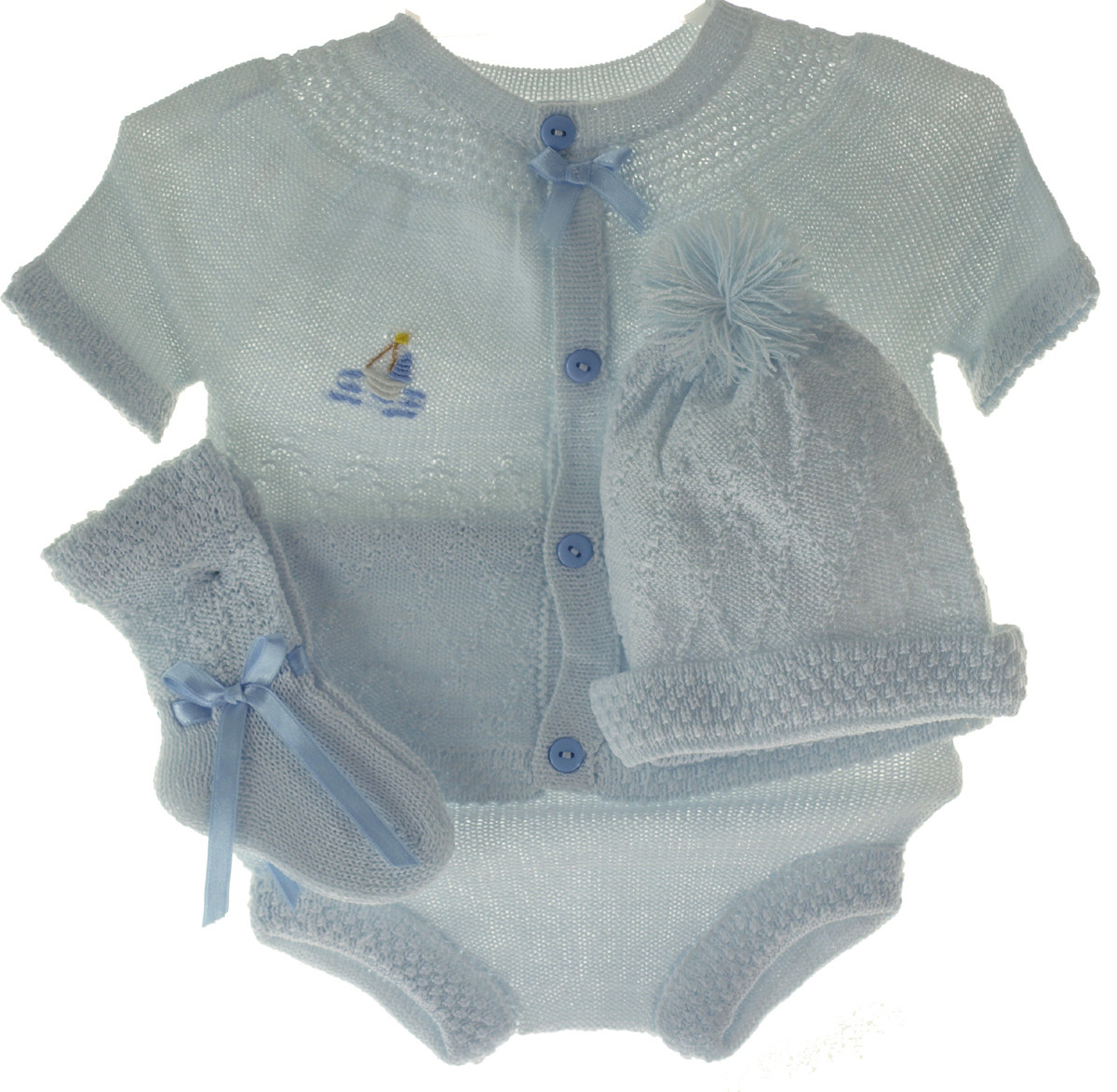 2166d8148 Newborn Baby Boys Blue Knit Take Home Outfit Hat & Booties Set ...