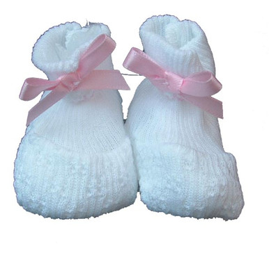 Paty Inc - Baby Girls White Booties with Pink Bow