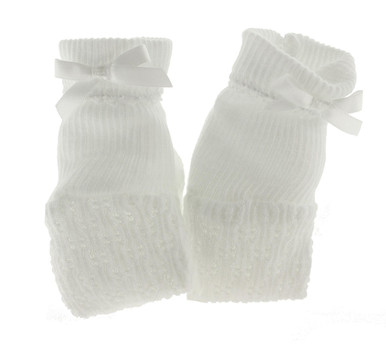 Paty Inc Solid White Baby Booties