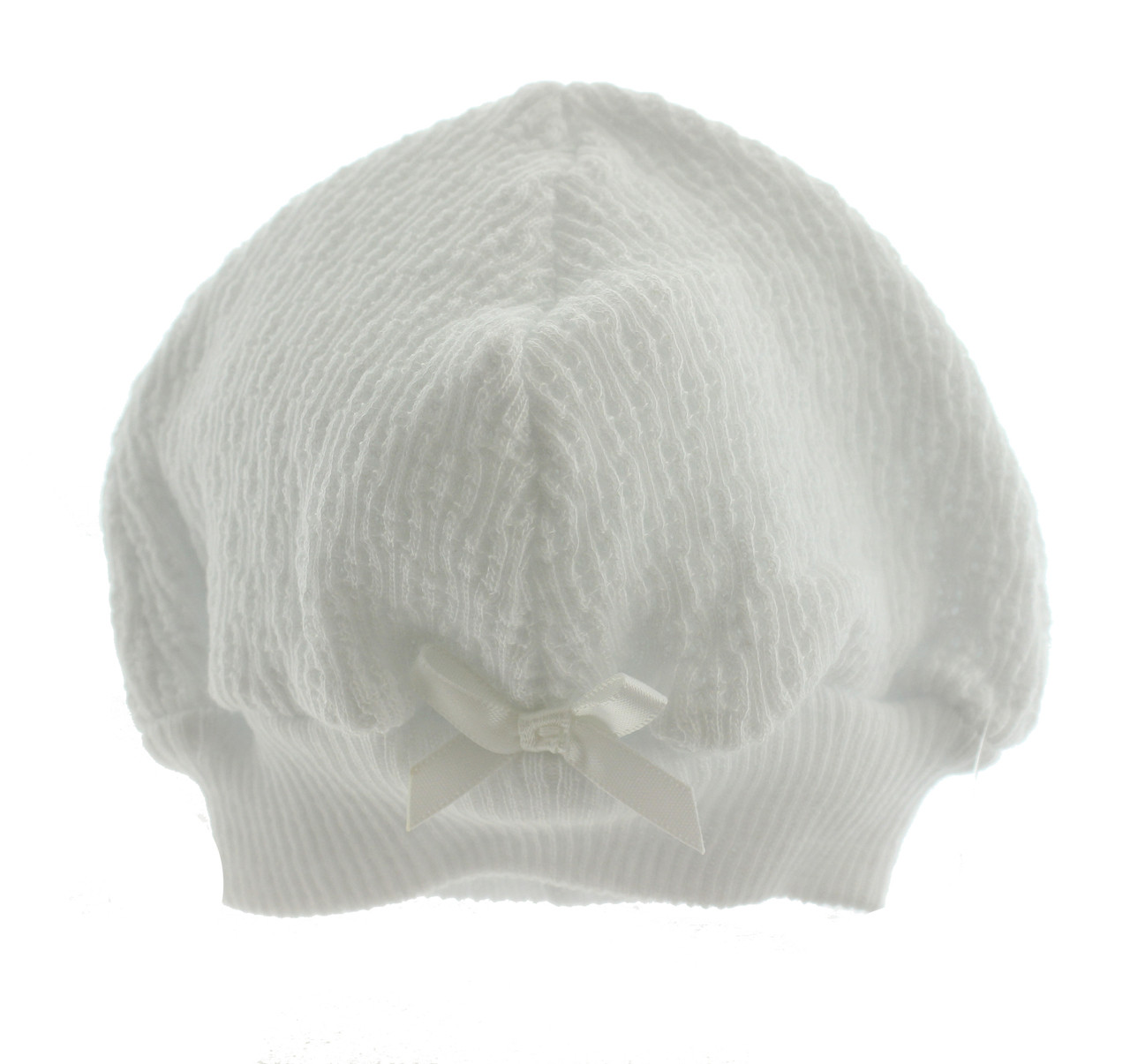 Paty Inc. - White Unisex Baby Beanie Hat with Satin Bow - Hiccups ... 291a7ed2cf6