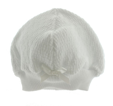Paty Inc White Unisex Baby Beanie Hat With Satin Bow