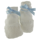 Paty Inc Baby Boys White Knit Booties with Blue Trim