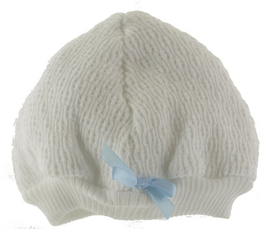 Paty Inc Baby Boys White Knit Beanie Hat with Blue Bow