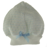 Paty Inc Infant Boys White & Blue Pinstripe Beanie Hat
