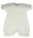 Paty Inc Infant Girls White Bubble Outfit with Lavender Trim