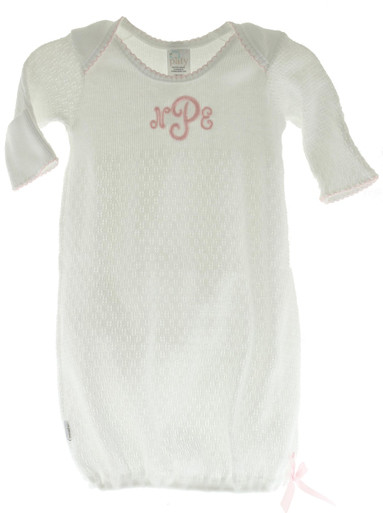 Baby Girls White Pink Monogrammed Layette Gown