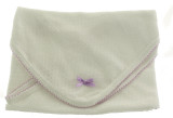 Paty Inc White Baby Blanket with Lavender Trim
