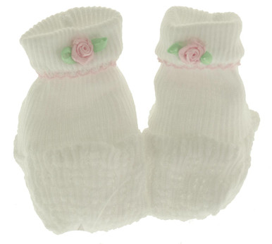 Paty Inc Newborn Girls White Cotton Baby Booties with Rose