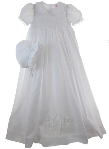 Girls White Christening Gown with Collar  Petit Ami