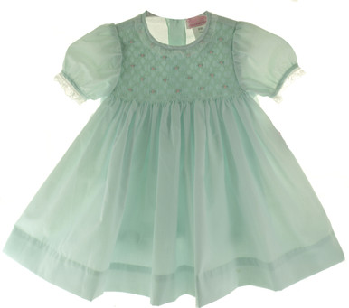 Petit Ami Infant Girls Mint Green Smocked Dress & Diaper Panty
