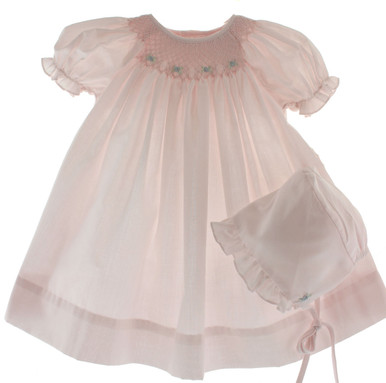 Petit Ami Pink Smocked Daygown & Bonnet
