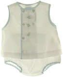 Petit Ami Newborn Boys White Sleeveless Embroidered Diaper Set