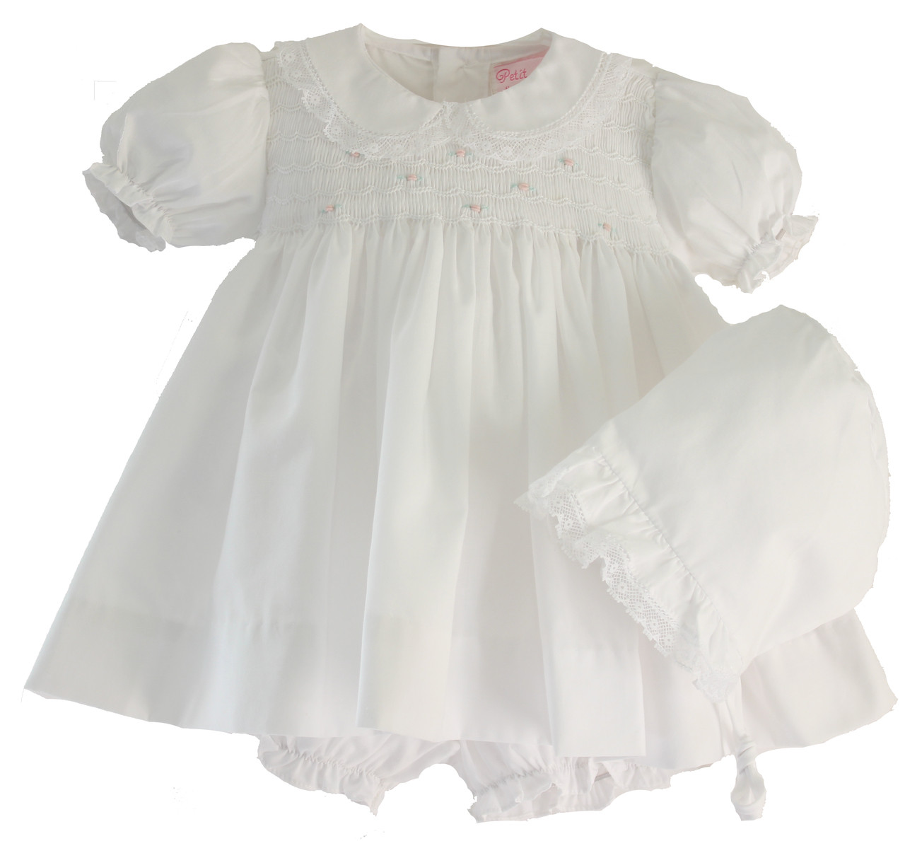 aeb96c5d1 ... White Newborn Baby Girls Dress & Bonnet with Lace. Loading zoom