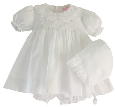Newborn Girls White Smocked Dress Bonnet Set