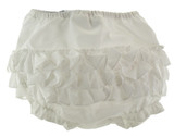 Sarah Louise Girls White Ruffled Bloomers Diaper Panty