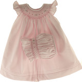 Willbeth Baby Girls Pink Smocked Angel Bishop Dress & Bonnet Set