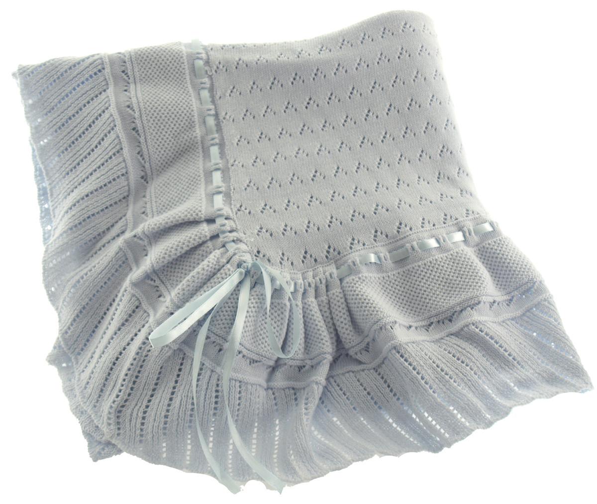 Baby Boys Blue Knit Receiving Blanket Feltman Brothers Shawl