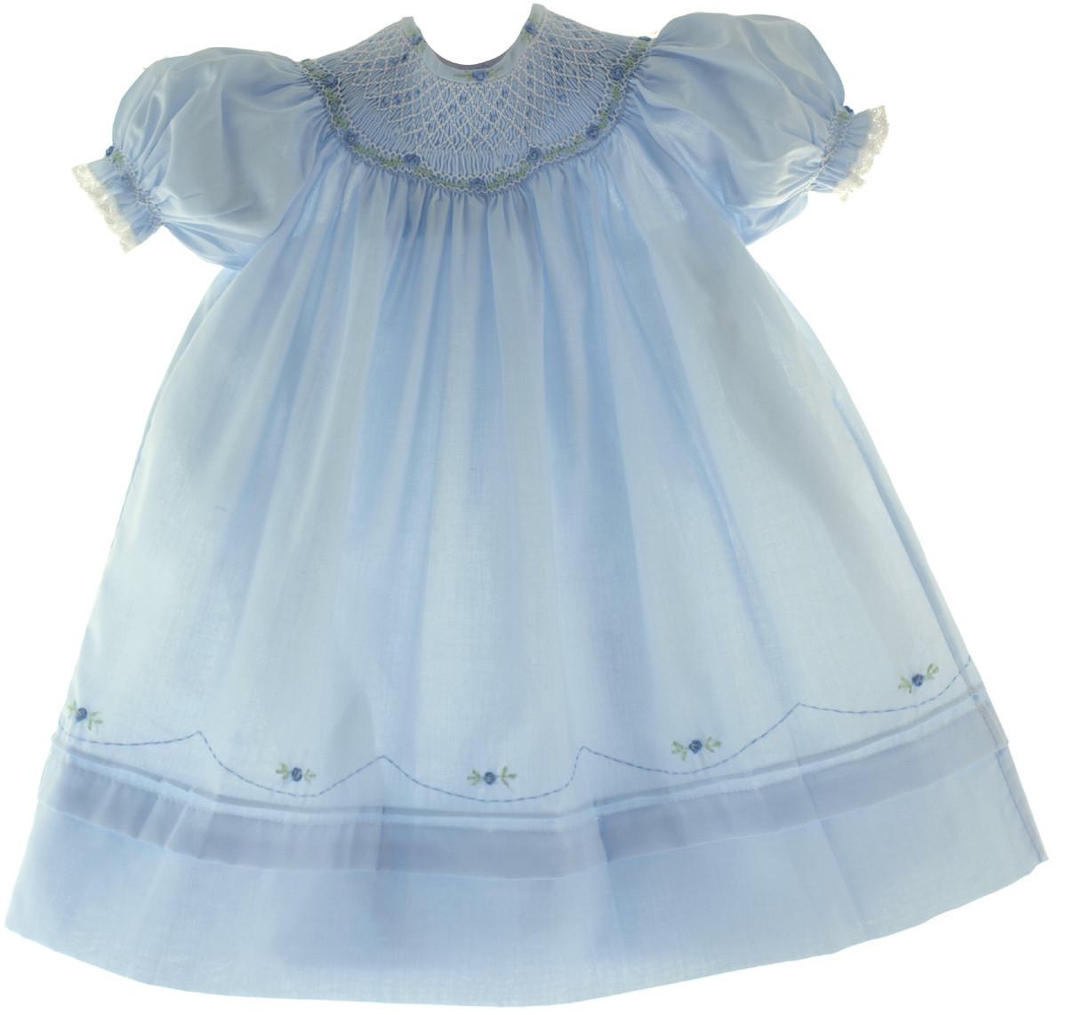 ee256890d Baby Girls Blue Smocked Portrait Bishop Dress Feltman Brothers