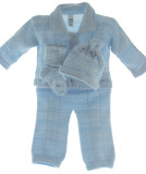 Newborn Boys Blue Knit Pant Set with Hat & Booties Willbeth