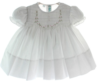 Newborn Girls White Dress with Smocking Feltman Brothers