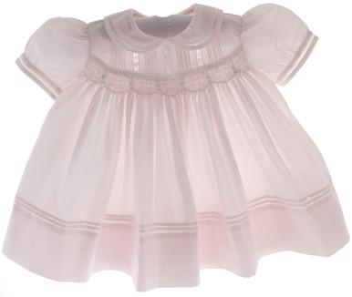Newborn Girls Pink Smocked Dress Peter Pan Collar Feltman Brothers