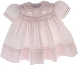 Newborn Girls Pink Smocked Dress Peter Pan Collar Feltman Brothers