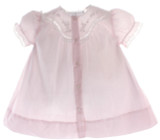 Newborn Girls Pink Day Dress Lace Trim