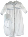 Newborn Boys White & Blue Take Home Gown Bonnet Set