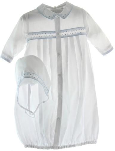 Preemie Newborn Boys Take Home Gown White and Blue