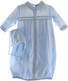 Newborn Boys Blue Gown & Bonnet Layette Set Friedknit by Feltman