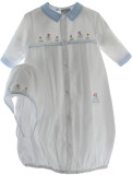 Newborn Boys White Take Home Gown & Bonnet with Sailboats