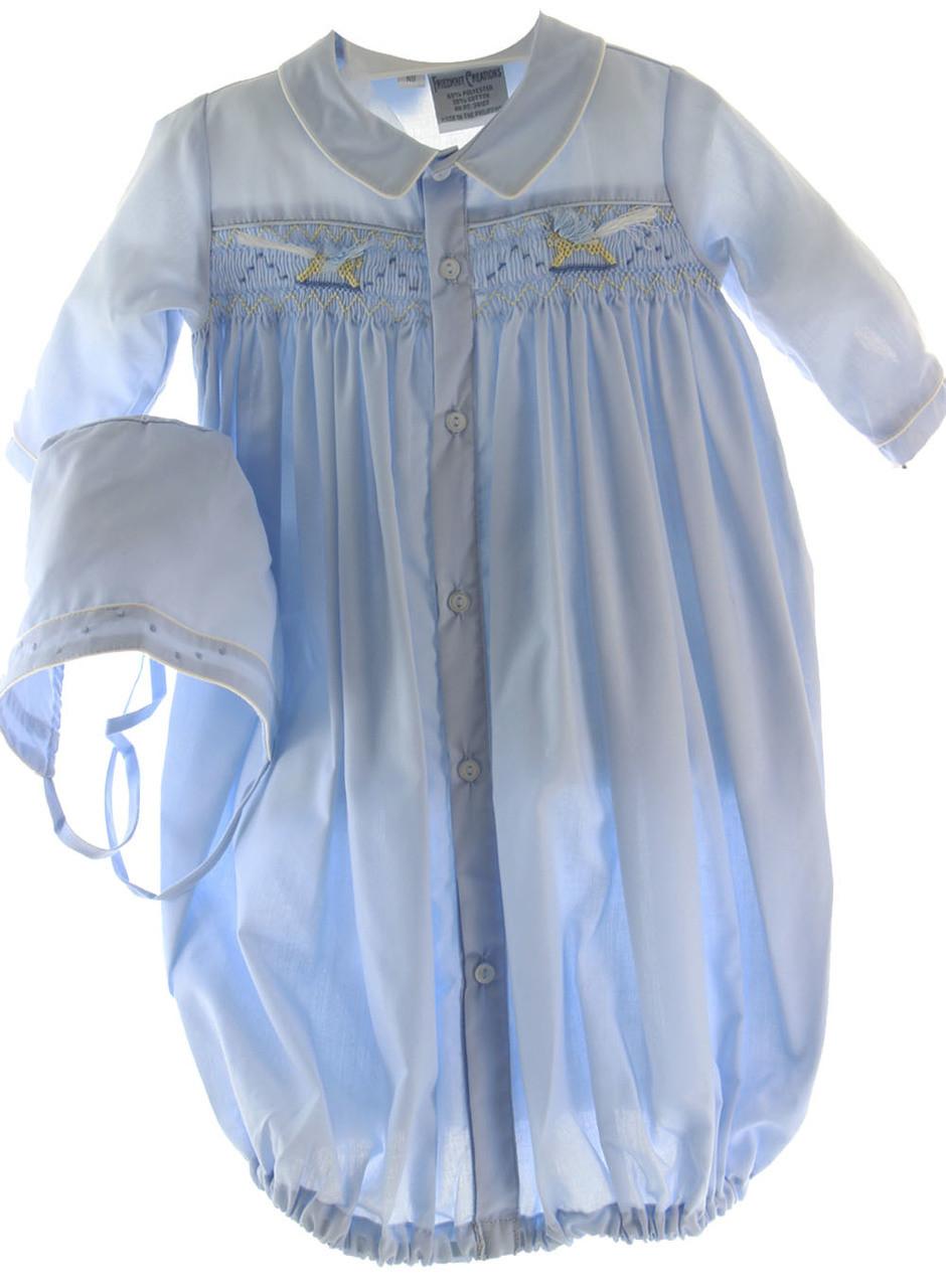 e5d361a14e83b ... Newborn Boys Blue Smocked Layette Gown & Bonnet Rocking Horses. Loading  zoom