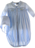 Newborn Boys Blue Smocked Layette Gown & Bonnet Rocking Horses