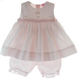 Infant Girls Pink Sleeveless Dress & Pantaloons Set Petit Ami