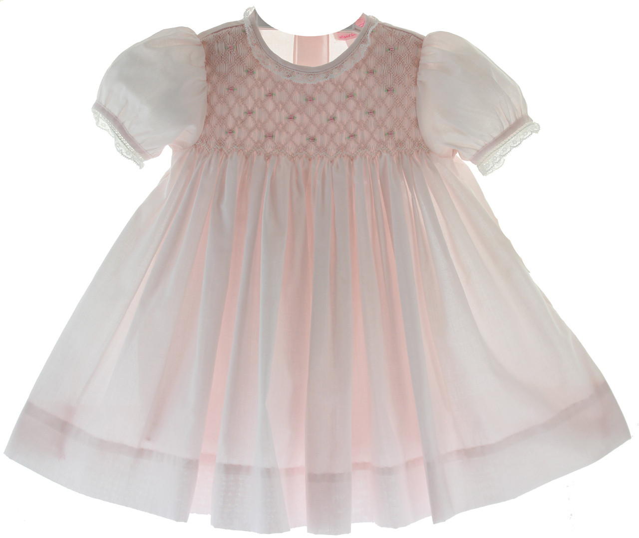 f6f6f9d9d Infant Girls Pink Smocked Bodice Dress Lace Trim. Click to enlarge