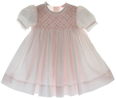 Infant Girls Pink Smocked Bodice Dress Lace Trim