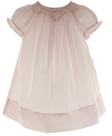 Newborn Girls Pink Smocked Bishop Day Dress