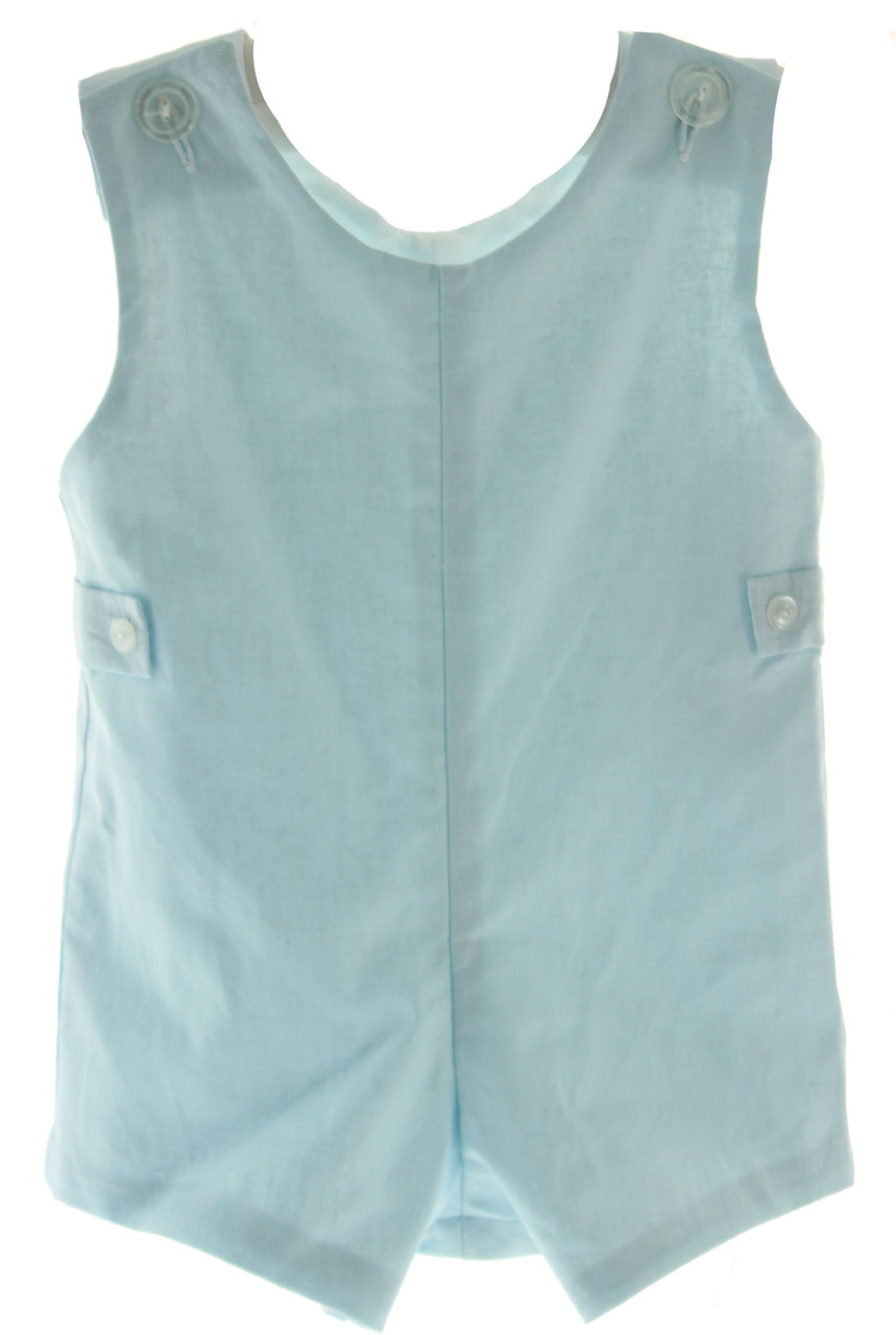 cbbdbec962507 Boys Blue Linen Dressy Romper Outfit Monogrammable | Anvy Kids Clothes