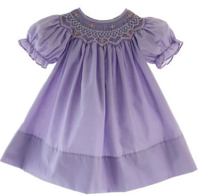 Infant Toddler Girls Purple Smocked Bishop Dress By Rosalina