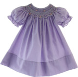Purple Smocked Bishop Dress Rosalina