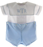 Boys Blue White Monogrammed Short Set