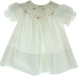 Infant Girls White Smocked Bishop Dress Pink Smocking
