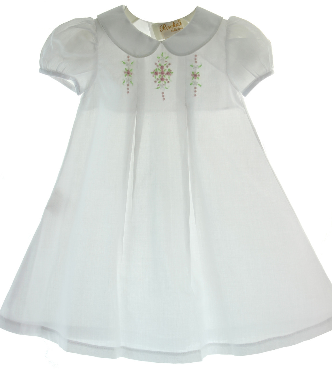 9e4db7fecfda ... Infant Girls White Embroidered Day Dress with Collar Rosalina. Loading  zoom