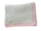 Baby Trousseau White Pink Baby Blanket