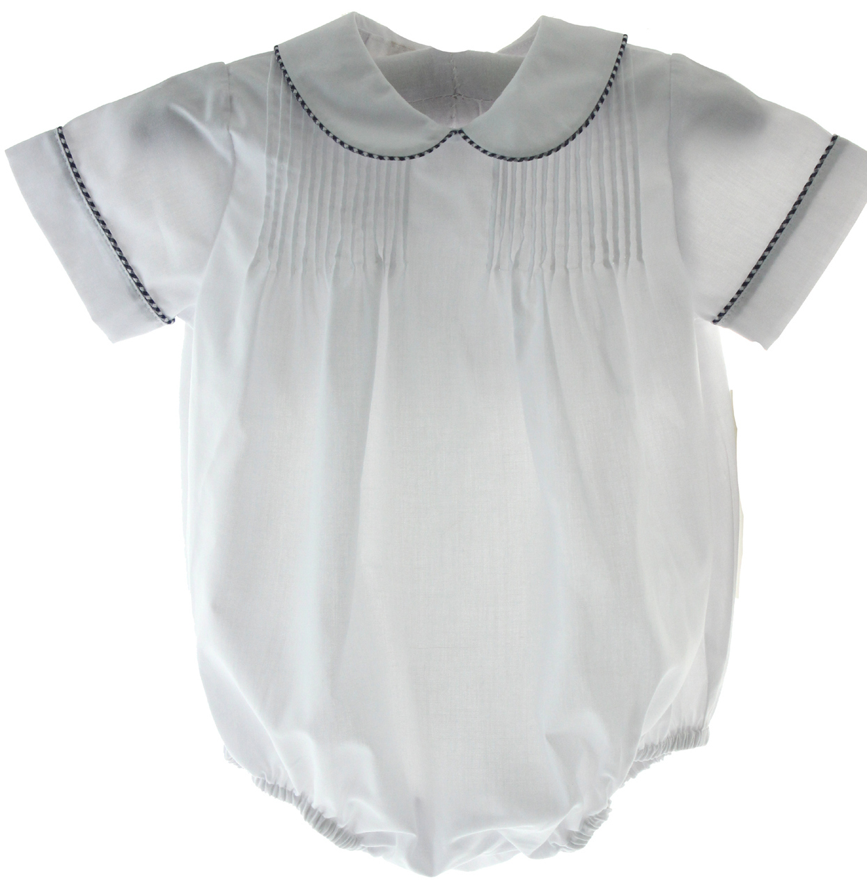 95f55ca69 Boys White Bubble Outfit Peter Pan Collar Navy Blue Trim